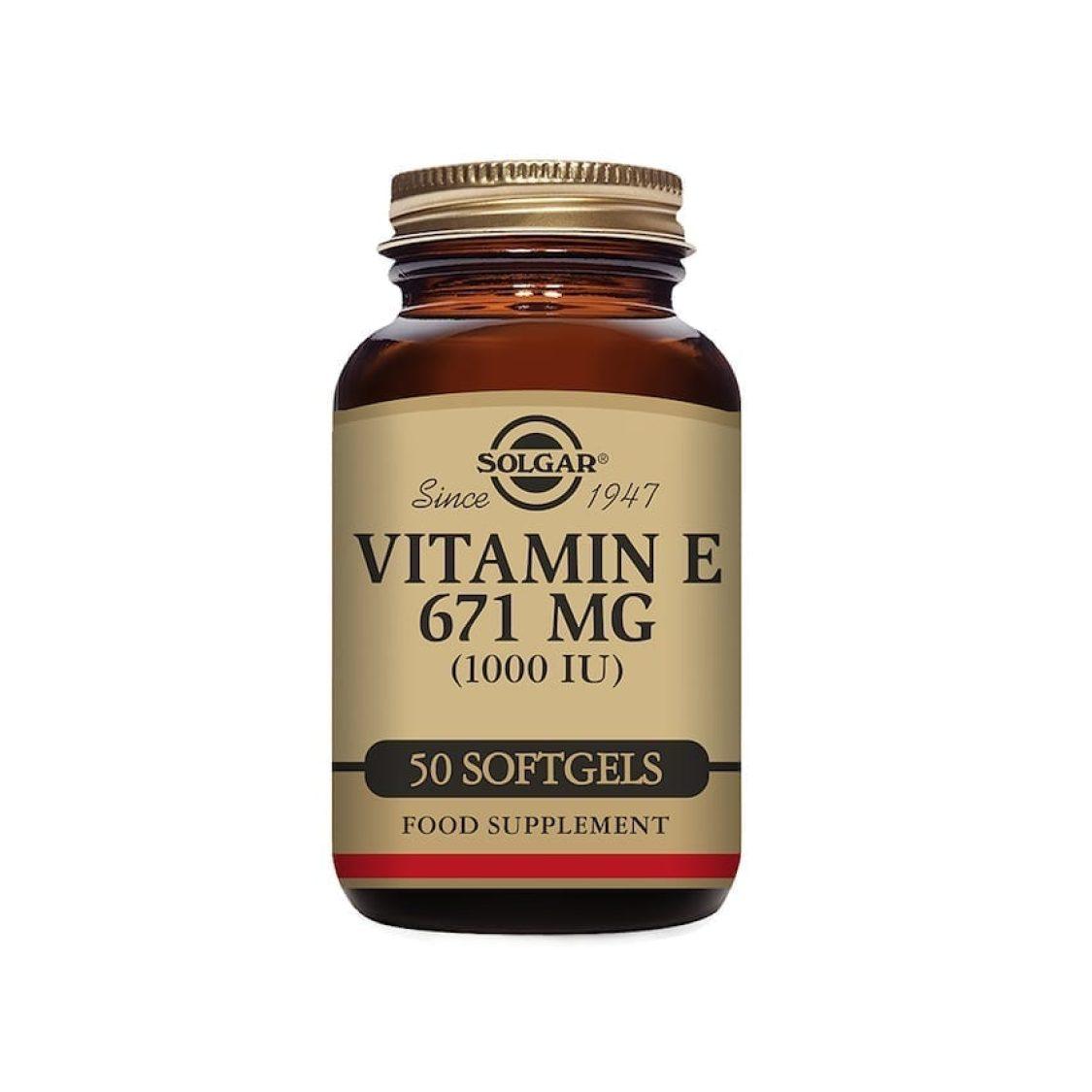 Solgar - Natural Vitamin E - Vitamin E 1000iu Vegi softgel  - Size: 50